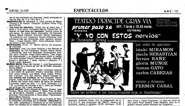 Teatro pr ncipe gran v a teatros de madrid Teatro principe gran via